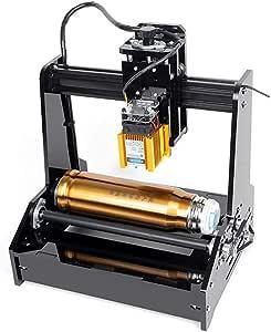 HUKOER 15W Máquina de Grabado Láser Cilíndrica 100x200mm Plotter Compacto Portátil para Acero Inoxidable, Latas de cola, Madera: Amazon.es: Bricolaje y herramientas