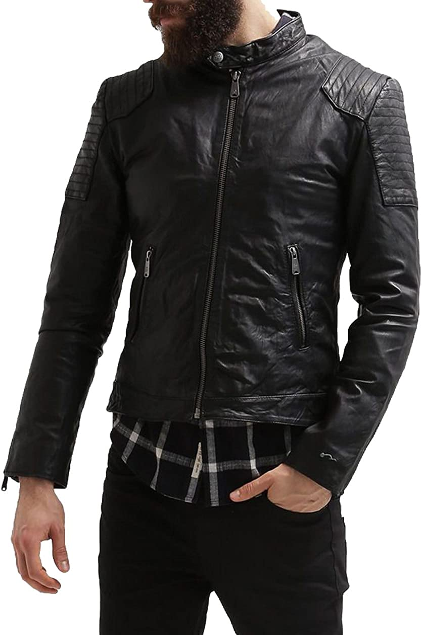 New Men Designer Genuine Lambskin Soft Biker Leather Jacket T1071