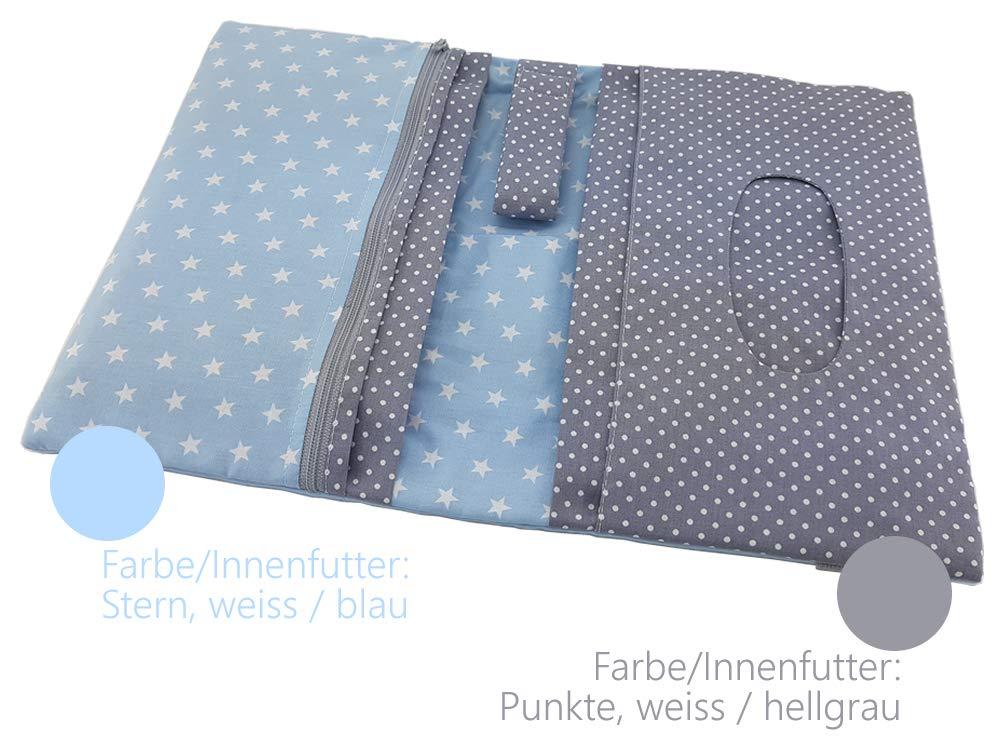 Punkte blau grau ❤ SmukkeDesign NEU Kulturtasche Reisebeutel Wickeltasche