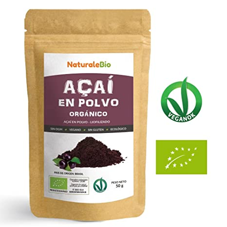 Bayas de Acai Orgánico en Polvo [Freeze - Dried] 50g | Pure Acaí Berry Powder Extracto crudo ...