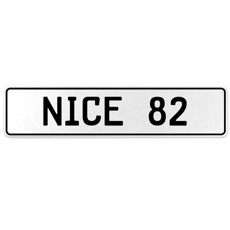 Vintage Parts 555273 Nice 82 White Stamped Aluminum European License Plate