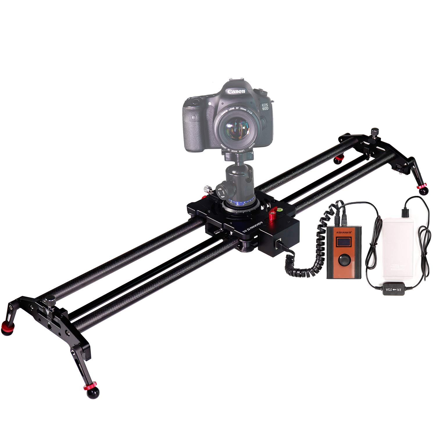 ASHANKS Motorized Camera Slider with Controller, Timelapse and Focus Track Shot Video Recording for DSLR Cameras. 80cm/31'' Supports up to 17.6 lbs by ASHANKS