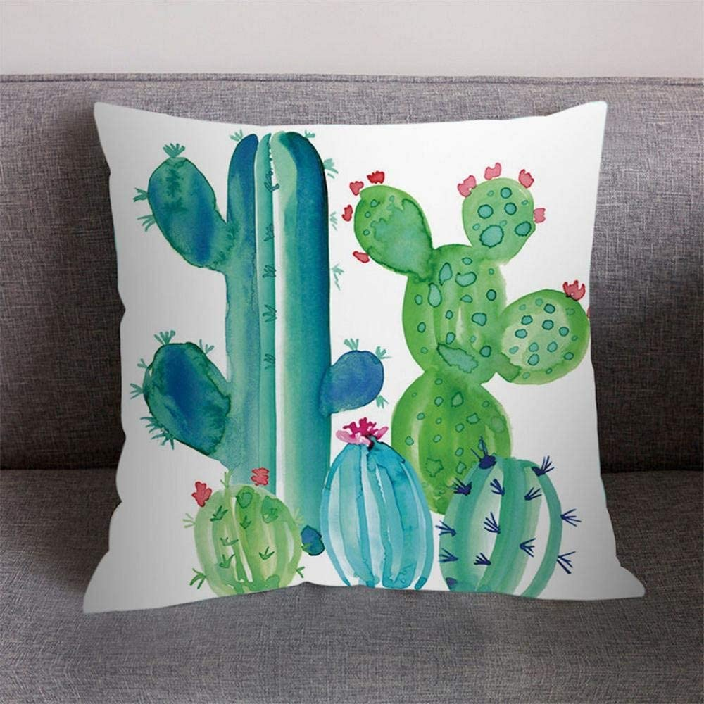 Amaone Pillow Cover 40x40cm 16x16 Inches Cushion Cover Pillowcase Square Sofa Waist Chair Decor Green Leaf Leaves Flower Cactus Print Home Office Bar Car Decorative Throw Pillow Cases Protector H Amazon Co Uk Kitchen
