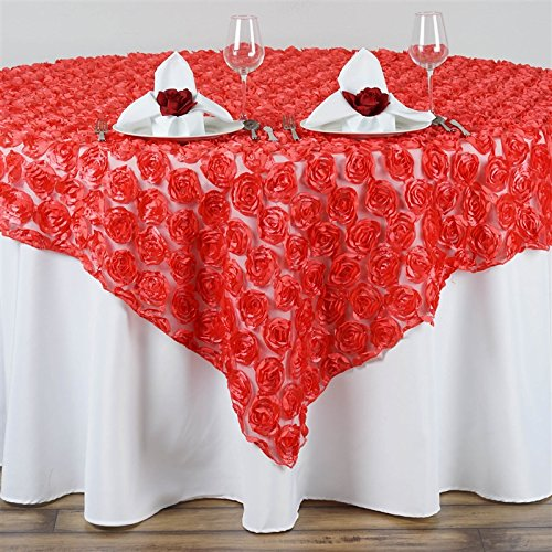 72 Inch X72 Inch Couture Rosettes In Lace Overlay - Coral by MFS