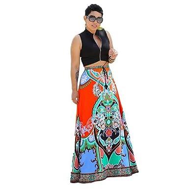 Sannysis Falda Mujer Maxi Vestidos Largo, Imprimir Tradicional ...