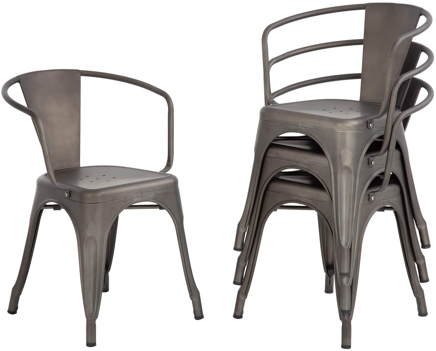 Metal Dining Chairs Set of 3 Patio Chiar Indoor Outdoor Metal Chairs  Kitchen Metal Chairs 3 Inch Seat Height Restaurant Chair 3LBS Weight  Capacity