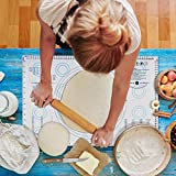 "Jumbo Pastry Mat with Measurements, 20"" x 30"" Silicone Fondant Sheet, Non-Slip Baking Mat Sticks to Countertop for Rolling Dough"