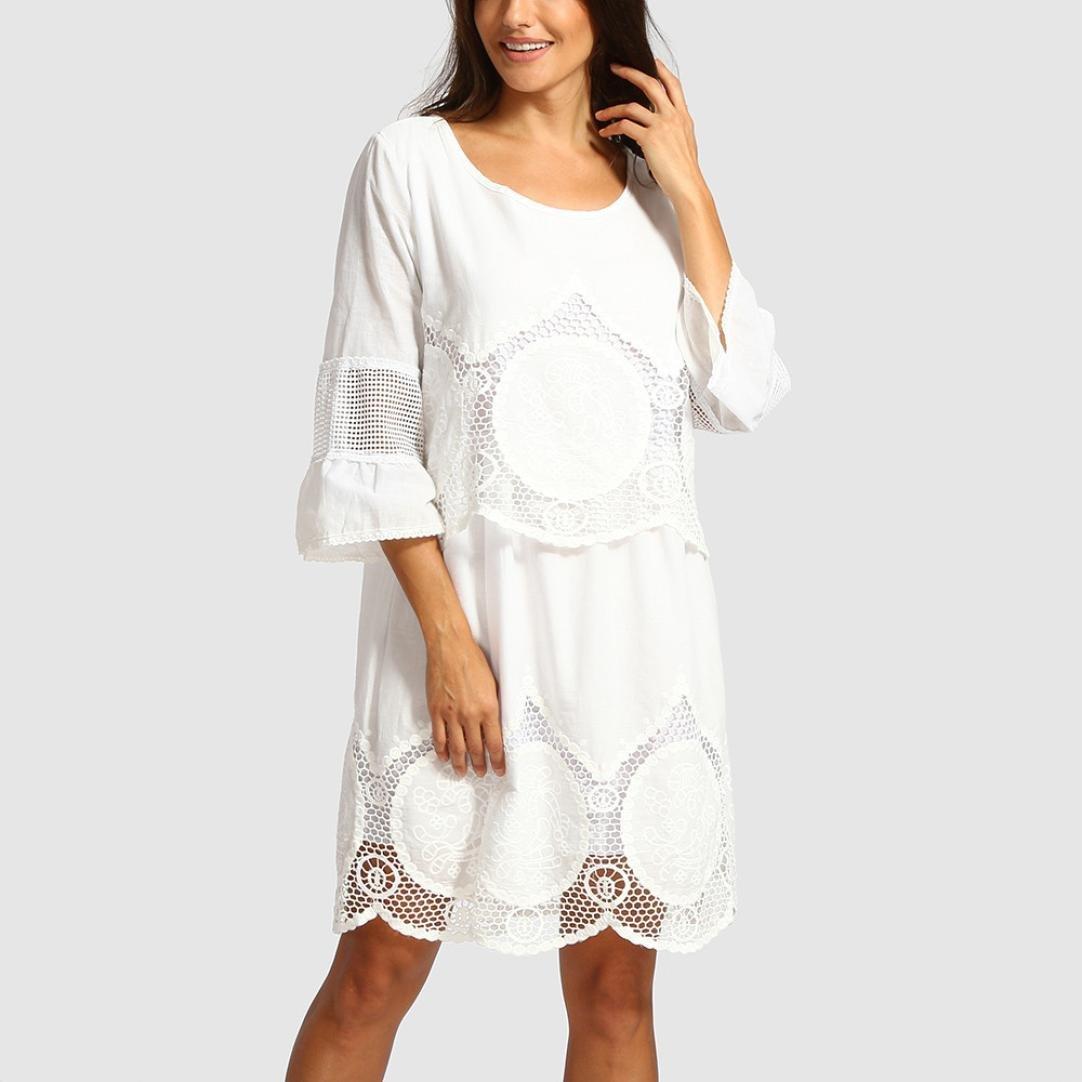 Longra Bianco Vestiti Donna Estate Lunghi Taglie Forti Vestiti Donna Estate Corti Eleganti Vestito a Maniche Lunghe Camicie Lunghe Donna Maniche Lunghe Gonna Casual Sciolto S-6XL