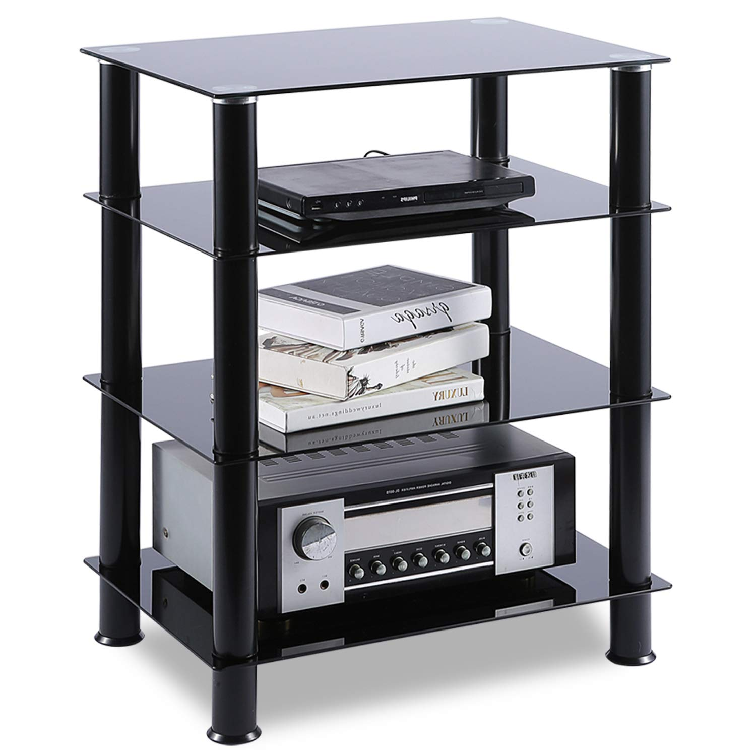 TAVR 4-Tiers Media Compontent TV Stand Audio Video Tower Tempered Glass Shevles for TV, Xbox, Gaming Consoles, Media Component, Streaming Device, HF1001 by TAVR Furniture