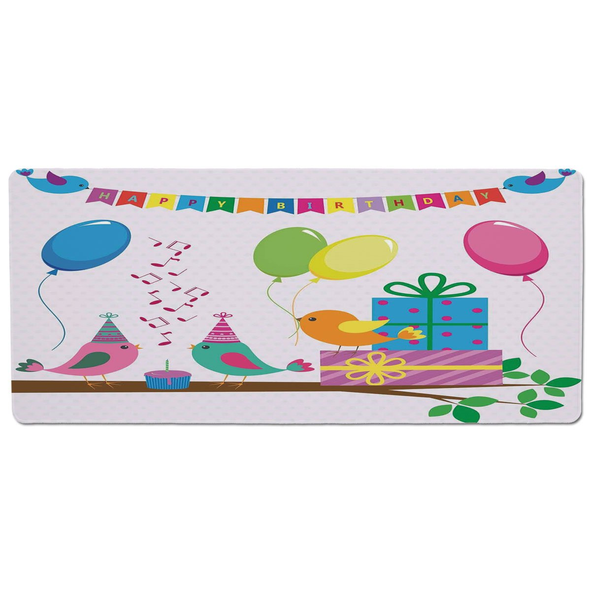 35.4\ iPrint Pet Mat for Food and Water,Birthday Decorations for Kids,Singing Birds Happy Birthday Song Flags Cone Hats Party Cake,Multicolor,Rectangle Non-Slip Rubber Mat for Dogs and Cats