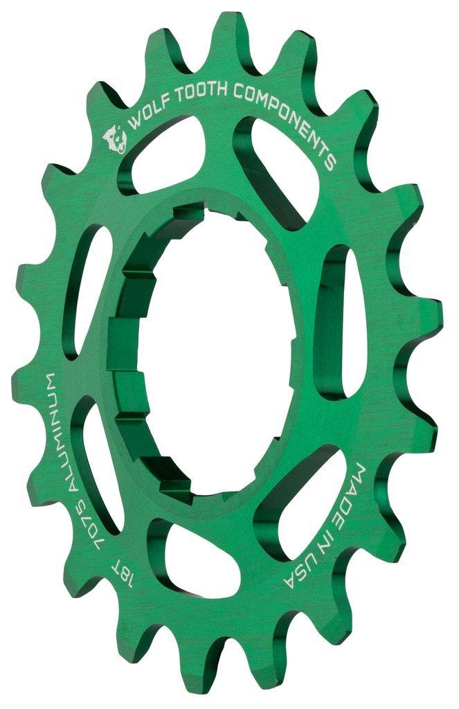 Wolf Tooth CNC Machined Aluminum Singlespeed Cogs Green 20t