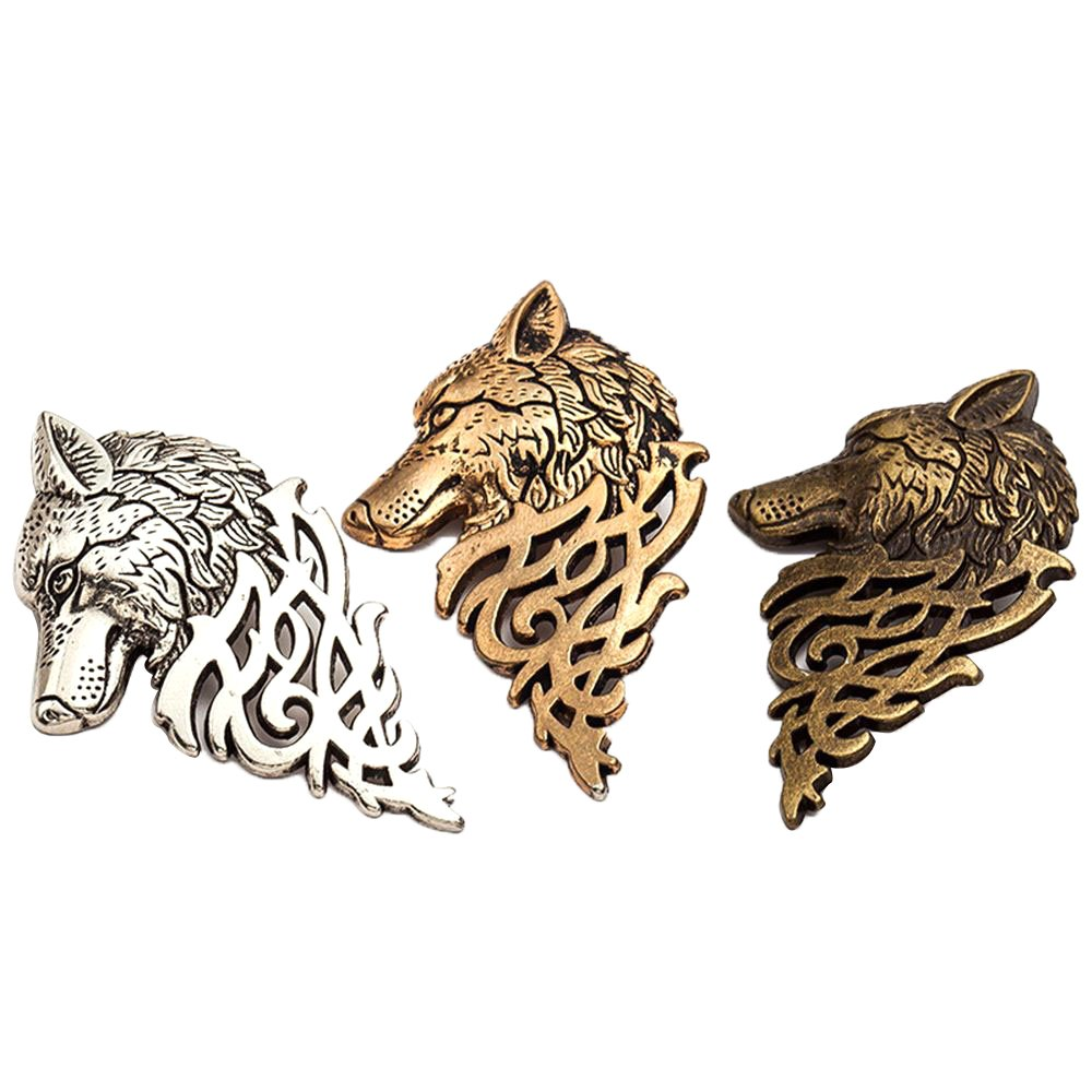 Charming Vintage Men Wolf Head Brooch Pin Badge for Jacket or Collar, Personalized Fashion Men 's Suits Buckle Neckwear Decoration - 3 Pack Genenic genenicamzzy059