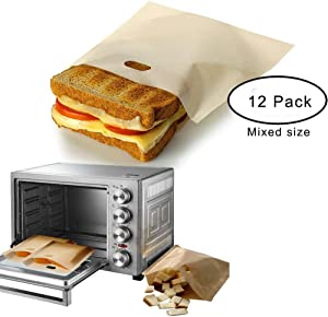 Toaster Bags Reusable for Grilled Cheese Sandwiches,Non Stick Sandwich Toaster Bags,Premium Quality Teflon Toaster Bags for Toaster, Microwave Oven or Grill,3 Different Size -Set of 12