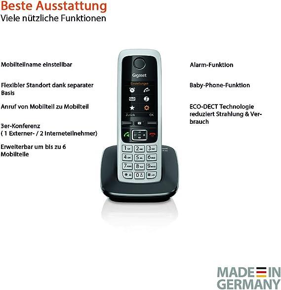 Gigaset C430 - Teléfono inalámbrico (DECT, 50 m, 300 m, 200 entradas) Negro: Amazon.es: Electrónica