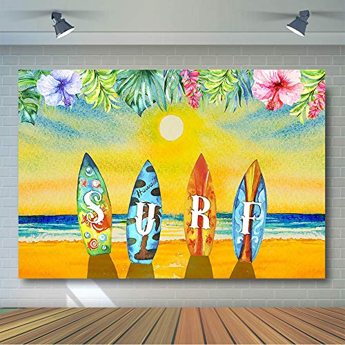 COMOPHOTO Hawaiian Summer Surfing Backdrop Surfboard Sunset Dusk Scene Photography Background 7x5ft Children Kid Beach Surf Party Photo Booth Studio Photographic Backdrops