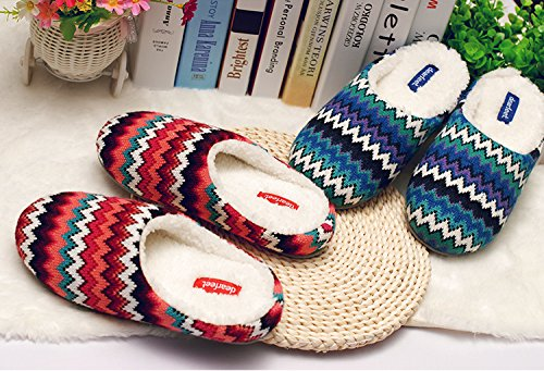 In Spring and autumn, house slippers, female, cotton, soft, comfortable, warm, tasteless, plush, thick-soled£¬Non-slip red