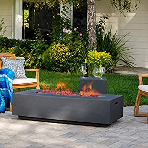 Jaxon Outdoor Fire Table with Lava Rocks & Tank Holder (Grey)