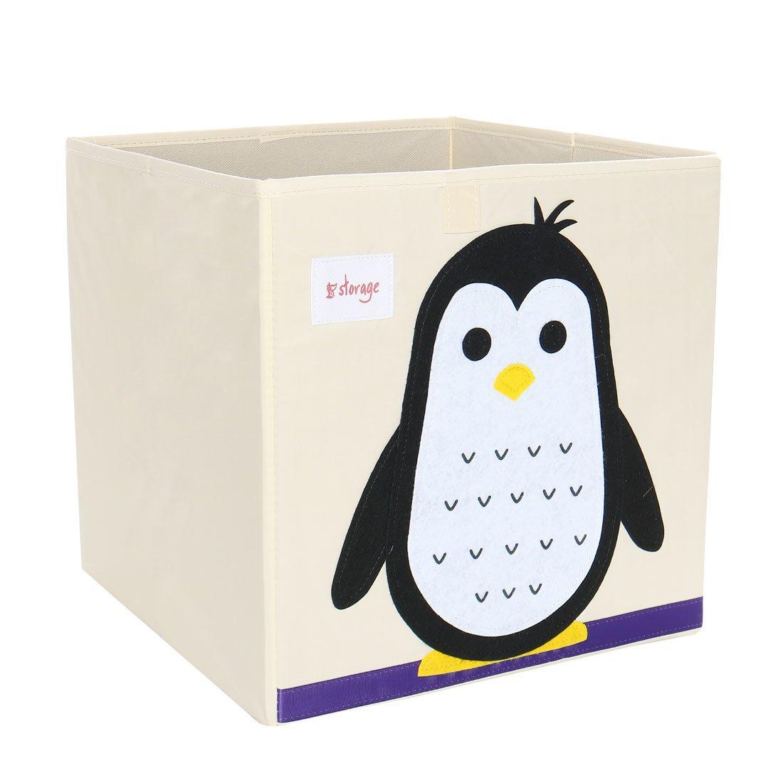 PiccoCasa Foldable Toy Storage Bins Square Cartoon Animal Nonwovens Storage Box Eco-Friendly Fabric Storage Cubes Organizer for Bedroom Playroom Penguin No Lid 13''x13''x13''