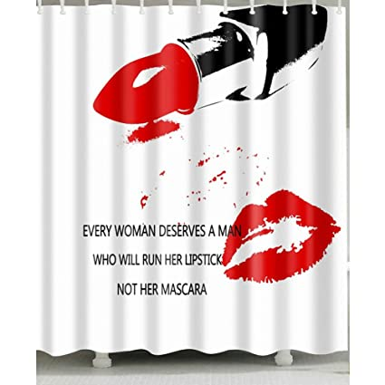 Red Lip And Lipstick Shower Curtain 1 Pc For Home Bath