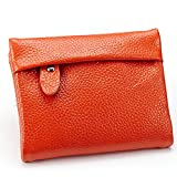 Women's Small Compact Bi-fold Genuine Leather Wallet Credit Card Holder Case with ID Card Window Coin Purse (Orange)