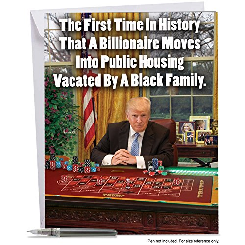 J3952BDG Jumbo Funny Birthday Card: Trump - First Time In History With Envelope (Extra Large Version: 8.5'' x - Usps Times First Class