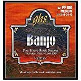 GHS Strings PF180 5-String Banjo Strings, Stainless Steel, Medium (.011-.024)