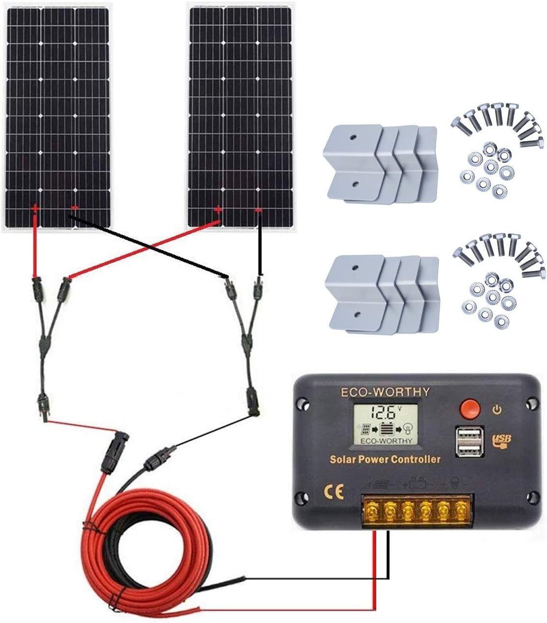ECO-WORTHY 200 Watt 2pcs 100W Monocrystalline Solar Panel Complete Off-Grid RV Boat Kit with LCD Charge Controller Solar Cable Mounting Brackets for Homes RVs Car Battery Charging