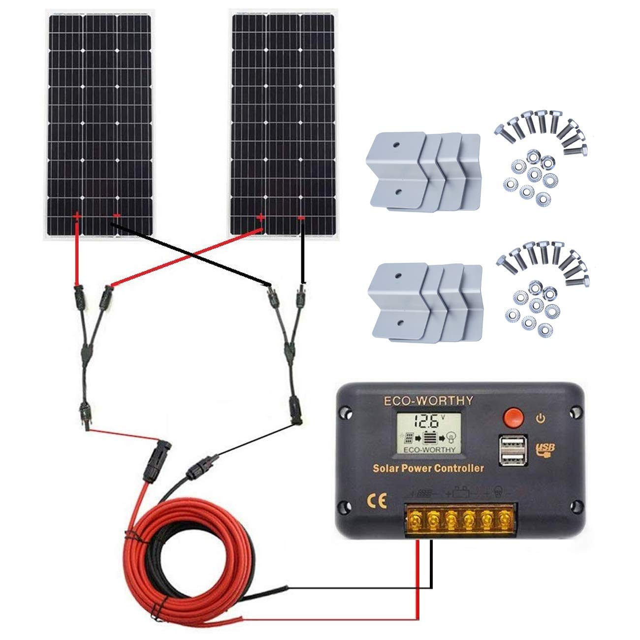 ECO-WORTHY 200 Watt (2pcs 100W) Monocrystalline Solar Panel Complete Off-Grid RV Boat Kit with LCD Charge Controller + Solar Cable + Mounting Brackets for Homes RVs Car Battery Charging by ECO-WORTHY