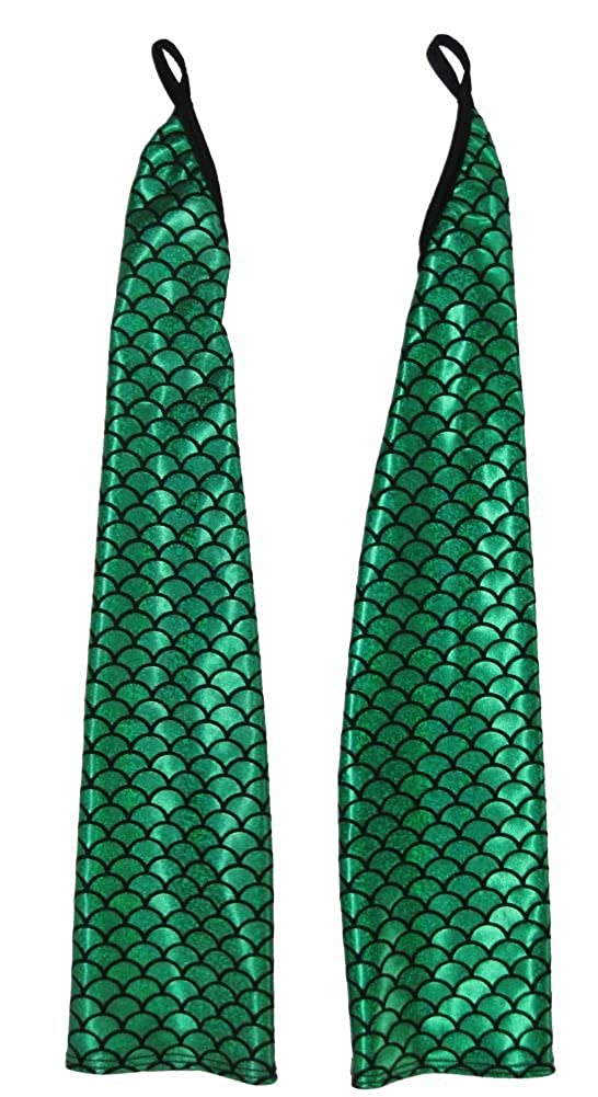 Extra Long Mermaid Green Hologram Fingerless Opera Length Gloves - DeluxeAdultCostumes.com