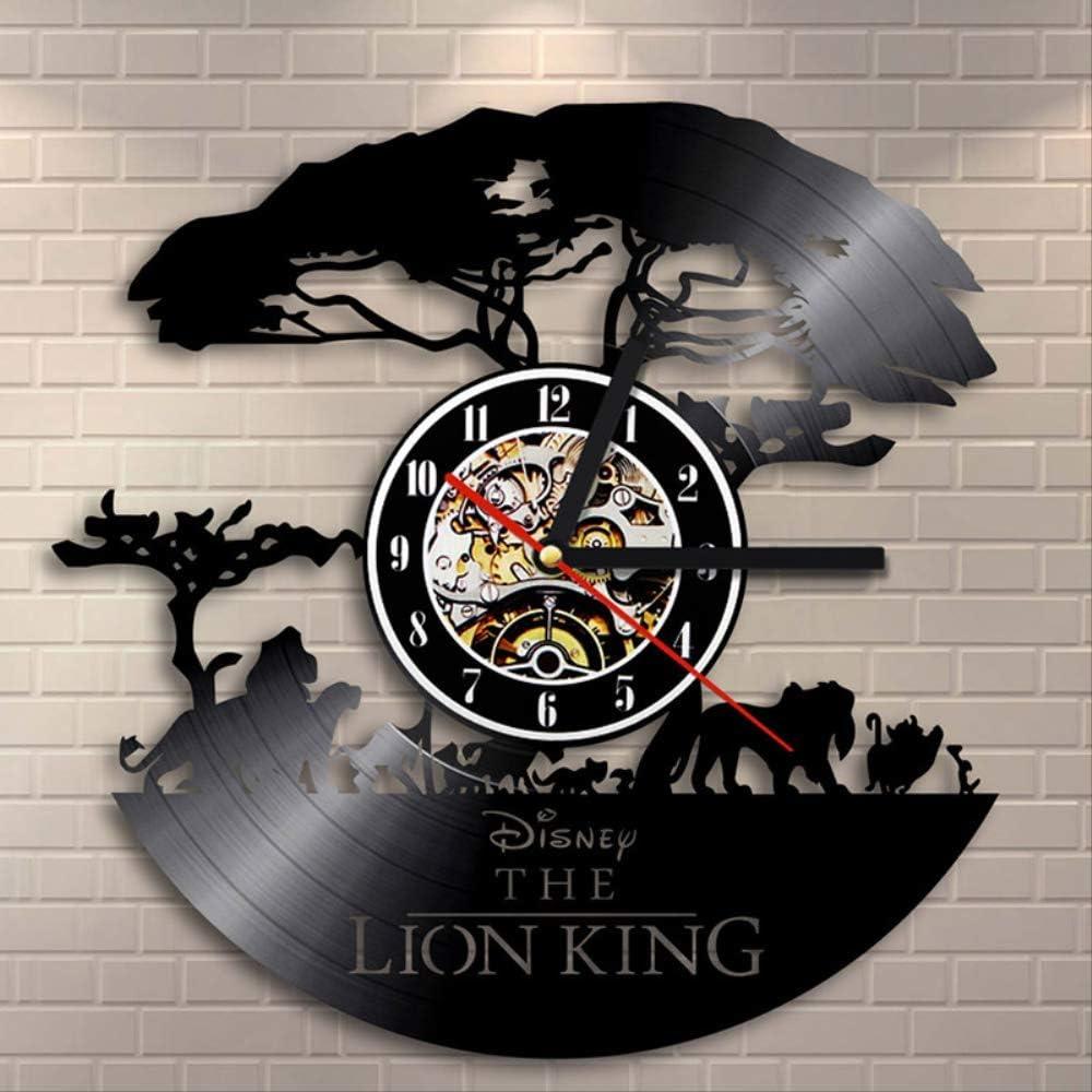 Zller2587 Disco de Vinilo Reloj de 12 Pulgadas Rey Leon Reloj de Pared Creativo de la Historieta 3D Sala de Estar, habitación Infantil, Dormitorio Decoracion Regalo para niños 12 Pulgadas Negro