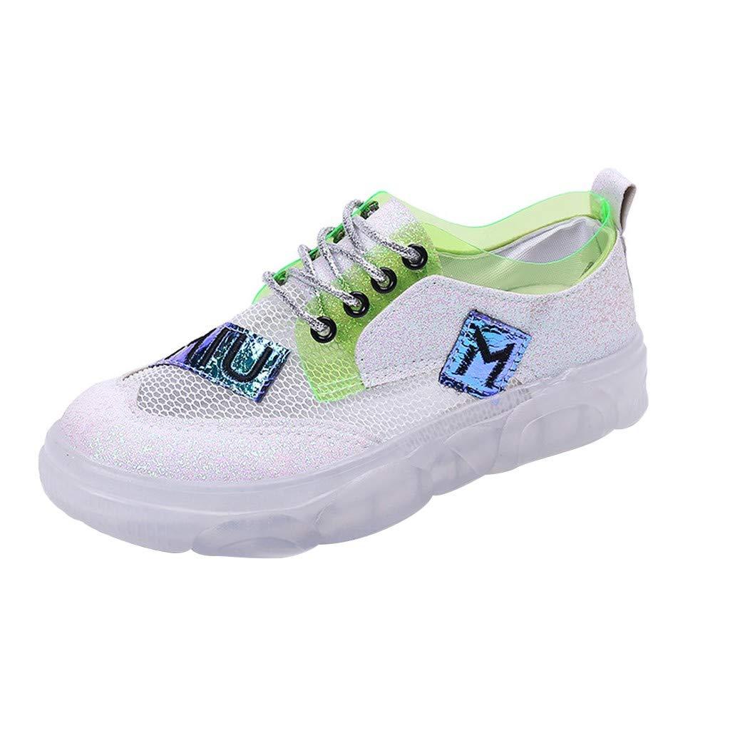 YEZIJIN Women's Summer Jelly Casual Mesh Transparent Sports Shoes Platform/Flats/High Heel Sandals Green
