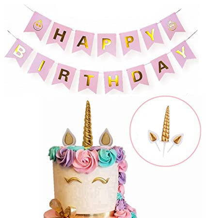 Dmaxia Unicorn Birthday Cake Topper And Happy Banner Set Party Decoration For Handmade Diy