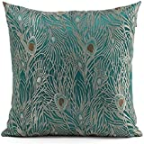 Fablegent 18 x 18-Inch Sapphire Blue Peacock Design Elegant Decorative Throw Pillow Cover