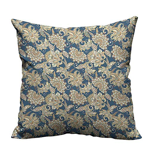 Paisley Brown Needlepoint (YouXianHome Zippered Pillow Covers Paisley Pattern Folkloric Retro Style Curly F tive Blue Cream Brown Decorative Couch(Double-Sided Printing) 17.5x17.5 inch)