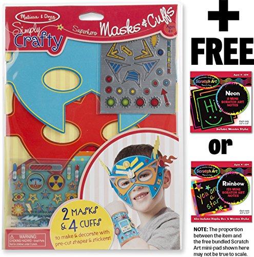 Superhero Masks and Cuffs - Simply Crafty Series + FREE Melissa & Doug Scratch Art Mini-Pad Bundle (Crafty Kit)
