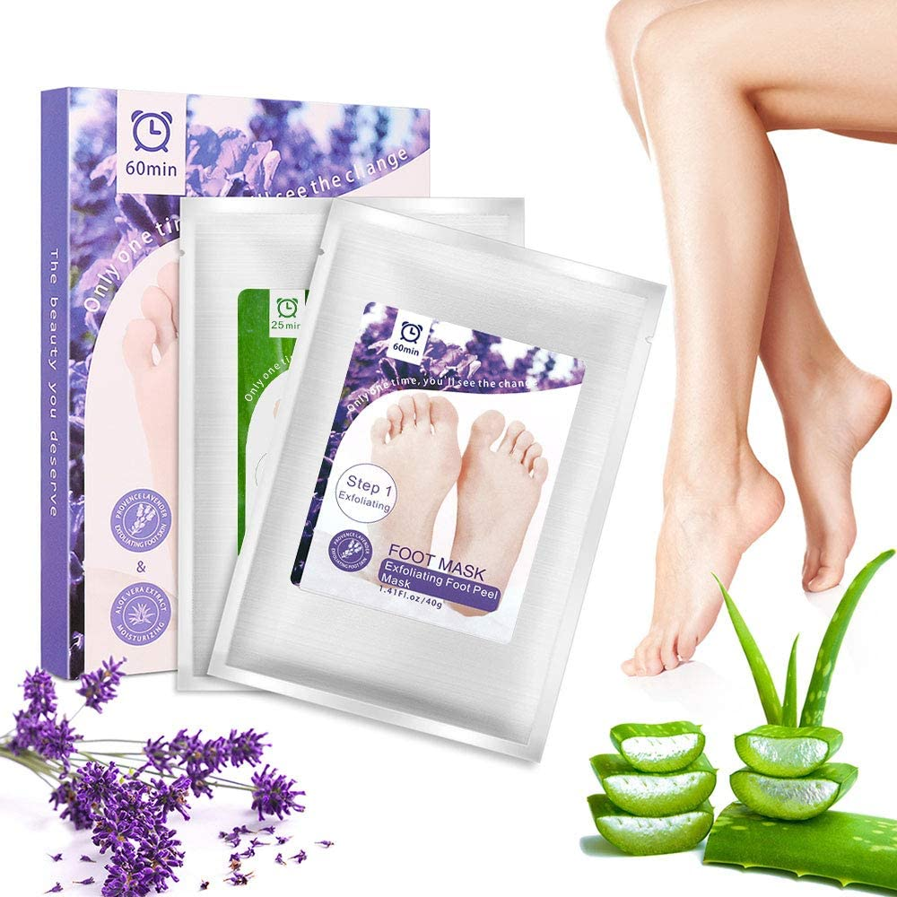 Foot Mask 2 Pairs Foot Peel Mask Exfoliating Booties Peeling Away Calluses and Dead Skin Cells Make Your Feet Smooth and Soft