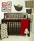Cotton Tale Designs 100% Cotton Multi Colorful Red, Brown, Tan, Cream Geometric Squares & Polka Dots Houndstooth 4 Piece Nursery Crib Bedding Set - Baby Shower Gift - Gender Neutral Unisex Boy & Girl