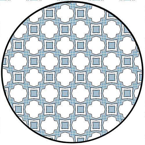 Short Plush Round Rug Authentic Portuguese Style Geometric Detailed Abstract Home Decor Blue White - 副本 Anti-Slip Children's Floor 74.8