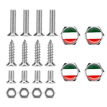 Tcare 1 Satz Autozubeh/ör Italien Italienische Flagge Gewinde Kennzeichenrahmen Schrauben Universal Schrauben F/ür Universal Car Styling