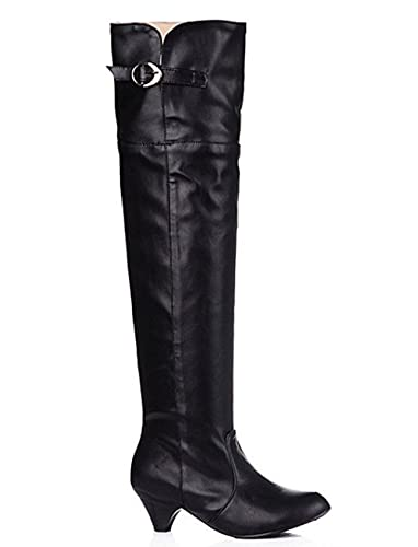 Amazon.com | SYJO Womens Sexy Buckled Mid Chunky Heels Over The Knee High Boots Riding Booties | Over-the-Knee