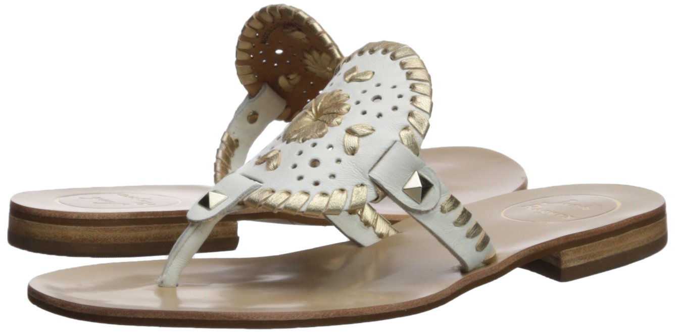 Jack Rogers Women's Georgica Flat Sandal, White/Gold, 9 Medium US by Jack Rogers (Image #6)