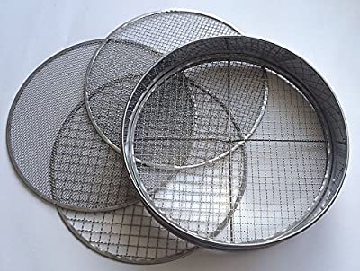 Practicool Stainless Steel Garden Potting Sieve / Riddle - with 4 Interchangeable Mesh Sizes - 3,6,9,12mm