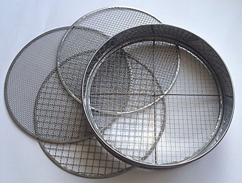 Practicool Stainless Steel Garden Potting Sieve / Riddle - with 4 Interchangeable Mesh Sizes - 3,6,9,12mm - Hand Sieves