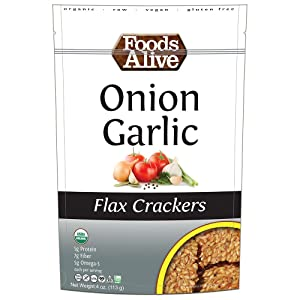 Foods Alive Onion Garlic Golden Flax Crackers, 4 Ounces