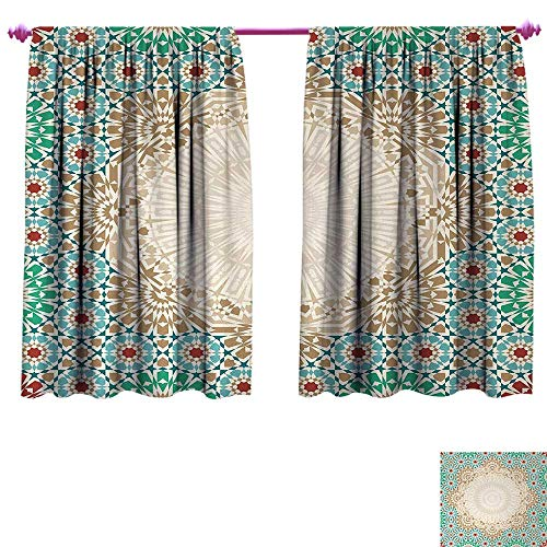 Moroccan Drapes for Living Room Ottoman Mosaic Art Pattern with Oriental Floral Forms Antique Scroll Ceramic Boho Print Room Darkening Wide Curtains W96 x L72 Multi