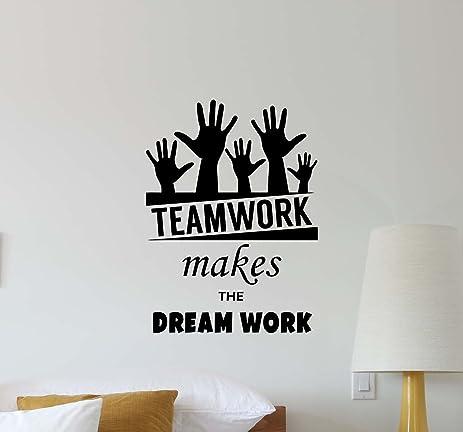 teamwork office wallpaper. Office Wall Decal Teamwork Makes The Dream Work Quote Inspirational Lettering Vinyl Sticker Motivational Gift Wallpaper