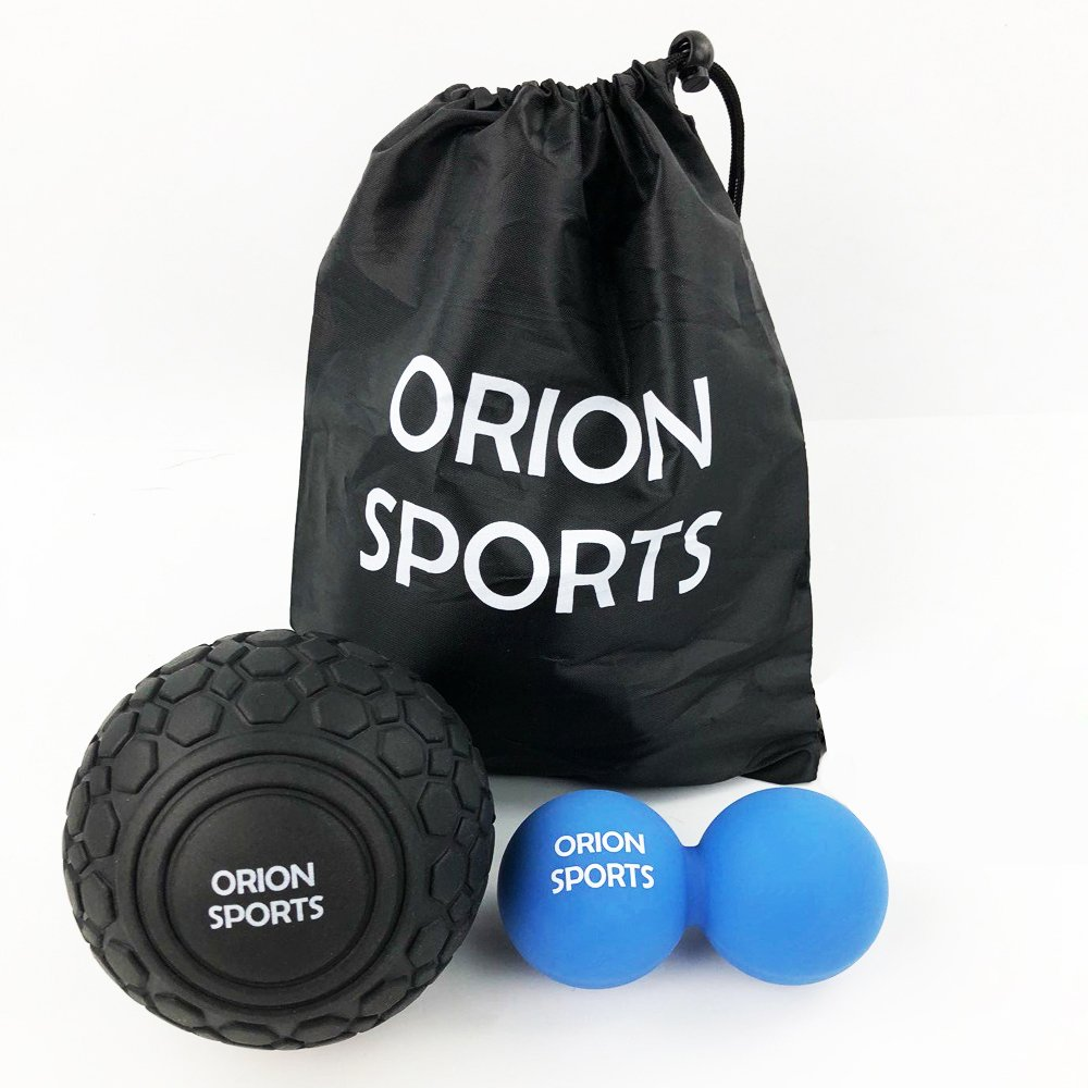 """Orion Sports Massage Therapy Ball Set – Double Peanut Lacrosse Ball, 5 """" Myofascial Release Mobility Ball & Bag – Self-Massaging Flexibility Gear For Muscle Knots, Trigger Point & Deep Tissue"""
