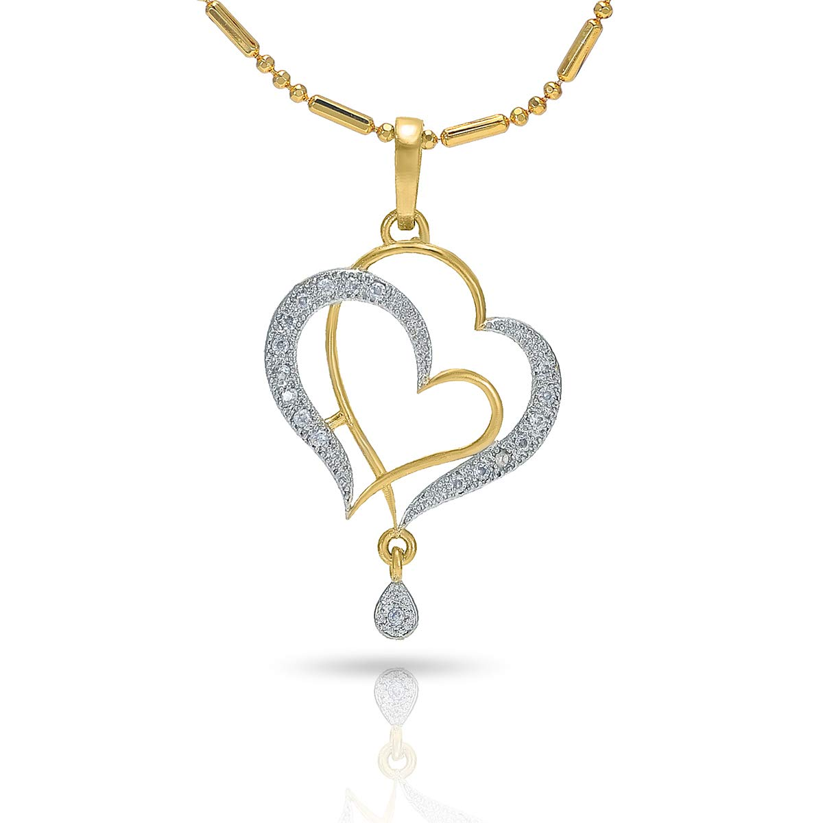 Buy Nakabh Gold Plated Heart Love Pendant And Earrings Jewellery