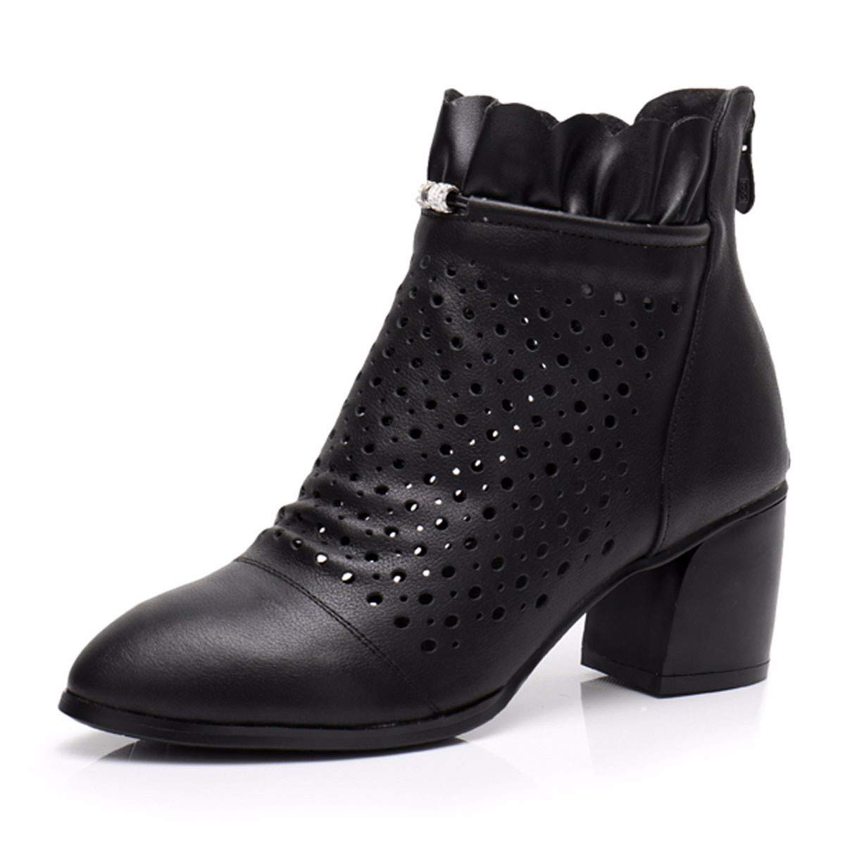 KPHY Damenschuhe Loch Im Sommer Schuhe Leder Ausgehöhlten Stiefeln Dicken Betuchte Stiefel High Heels Frühling und Herbst Stiefel Atmungsaktive Schuhe S.Grau