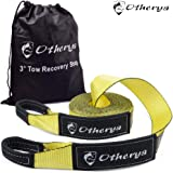 Otherya Tow Recovery Strap 3'' x 30' - Recover Your Vehicle Stuck in Mud/Snow - Heavy Duty Winch Snatch Strap - Protective Loops, Water-Resistant - Off Road Truck Accessory - Bonus Storage Bag